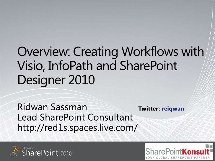 Overview: Creating Workflows with Visio, InfoPath and SharePoint Designer 2010<br />Ridwan Sassman<br />Lead SharePoint Co...