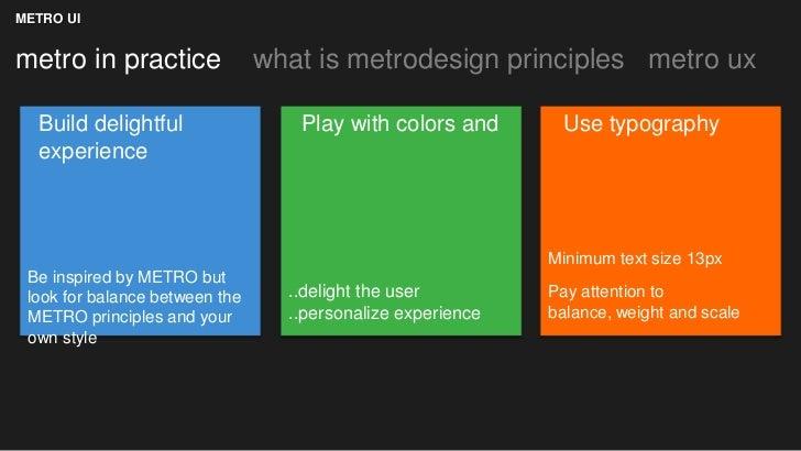 METRO UImetro in practice               what is metrodesign principles metro ux  Build delightful                 Play wit...