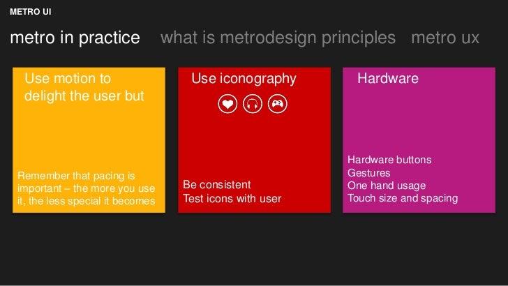 METRO UImetro in practice                  what is metrodesign principles metro ux  Use motion to                       Us...