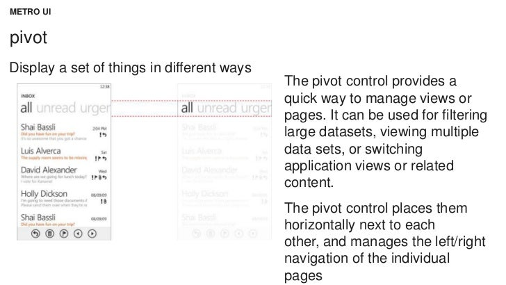METRO UIpivotDisplay a set of things in different ways                                            The pivot control provid...