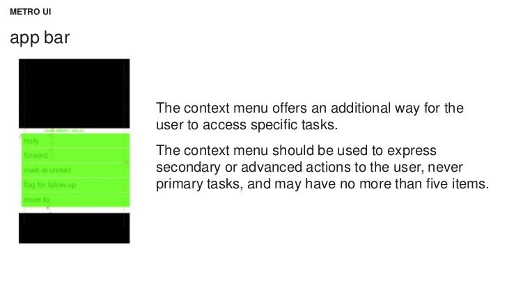 METRO UIapp bar           The context menu offers an additional way for the           user to access specific tasks.      ...