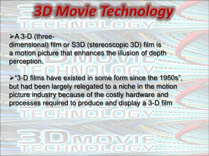 A 3-D (three-dimensional) film or S3D (stereoscopic 3D) film isa motion picture that enhances the illusion of depthpercep...