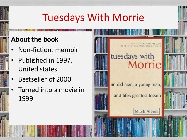 my tuesday with morrie Tuesdays with morrie 1h 29min | biography , drama | tv movie 5 december 1999 a journalist finds himself questioning his own life when his best friend, a dying man, offers him some very powerful wisdom and advice for coping in relationships, careers and society.