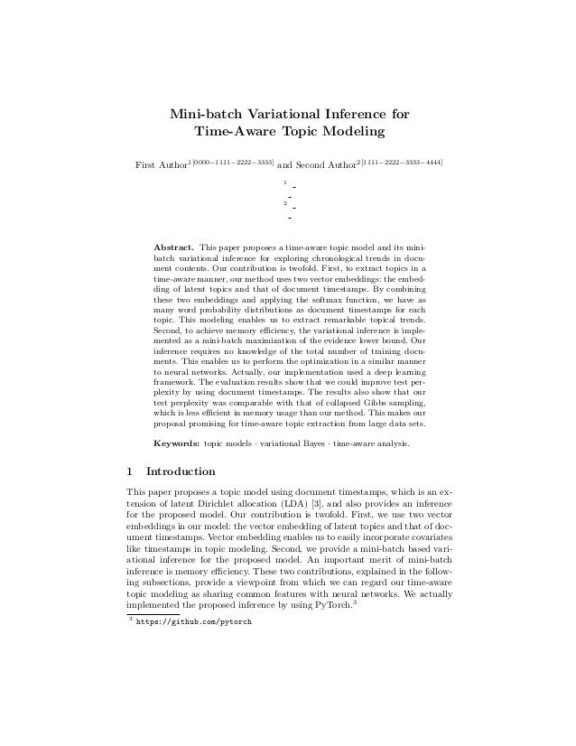 Mini-batch Variational Inference for Time-Aware Topic Modeling First Author1[0000−1111−2222−3333] and Second Author2[1111−...