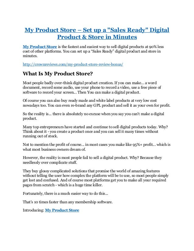 "My Product Store – Set up a ""Sales Ready"" Digital Product & Store in Minutes My Product Store is the fastest and easiest w..."