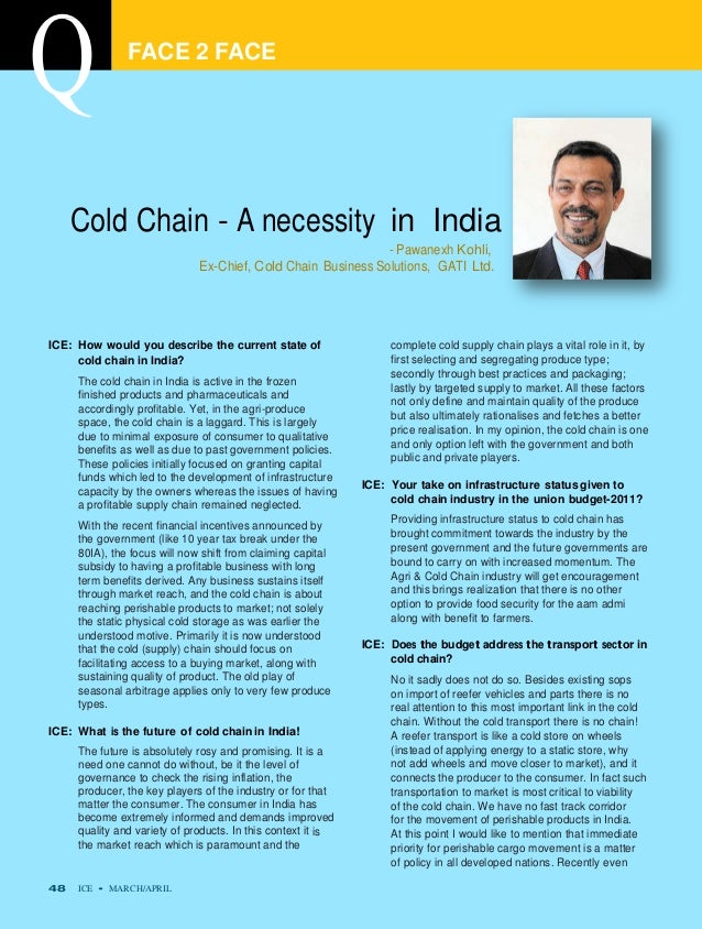 FACE 2 FACE     Cold Chain - A necessity in India                                                              - Pawanexh ...