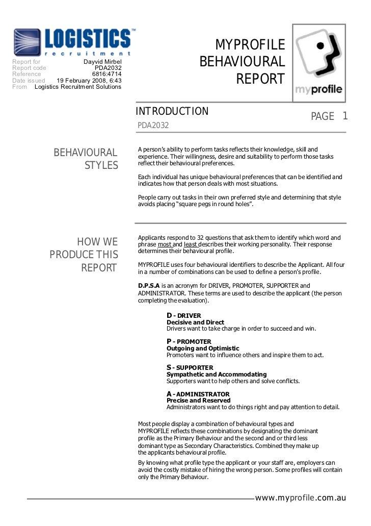MYPROFILEReport for             Dayvid Mirbel                          BEHAVIOURALReport code               PDA2032Referen...