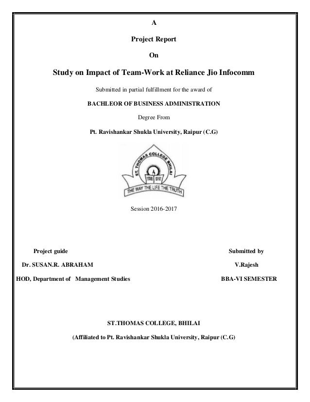 Project Report On Study on Impact of Team-Work at Reliance