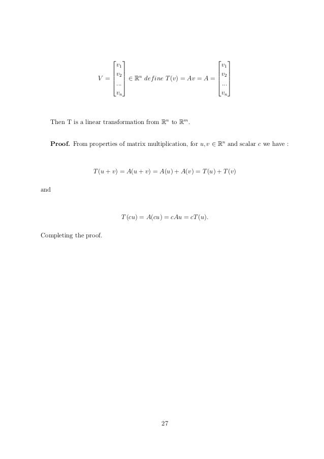 Application of linear transformation in computer