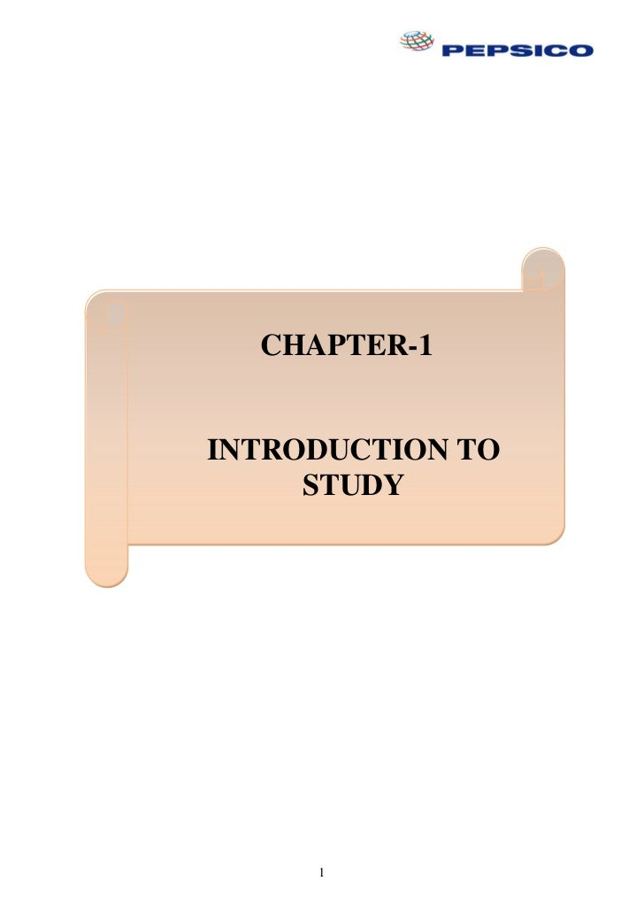 CHAPTER-1INTRODUCTION TO     STUDY     1