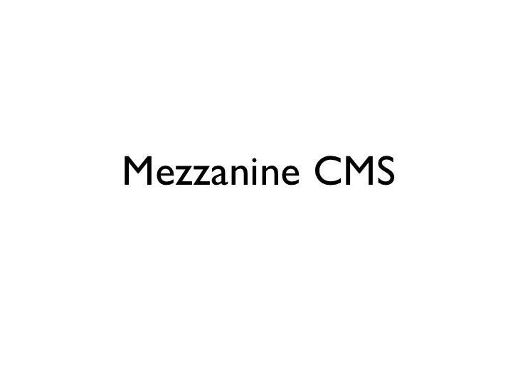 Mezzanine CMS