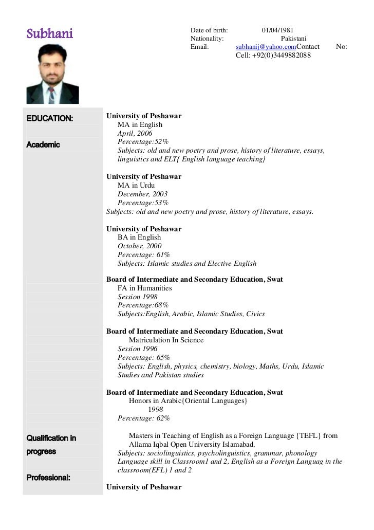 Arabic Cv Form Sample