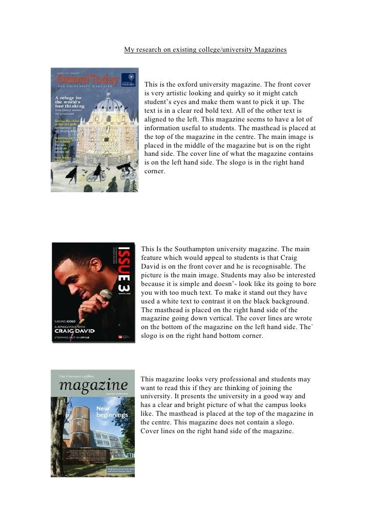 My research on existing college/university Magazines          This is the oxford university magazine. The front cover     ...