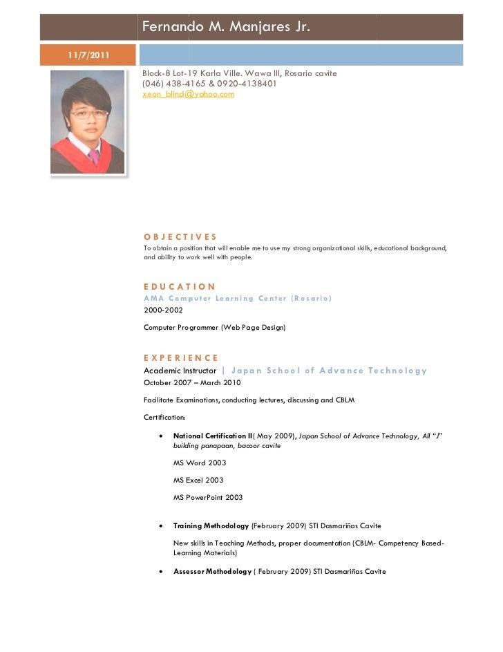 Fernando M. Manjares Jr.11/7/2011            Block-8 Lot-19 Karla Ville. Wawa III, Rosario cavite                        1...