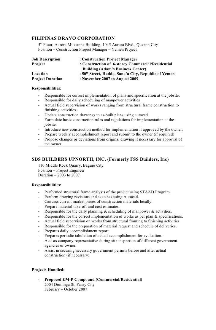 project manager description project manager job description sample ...