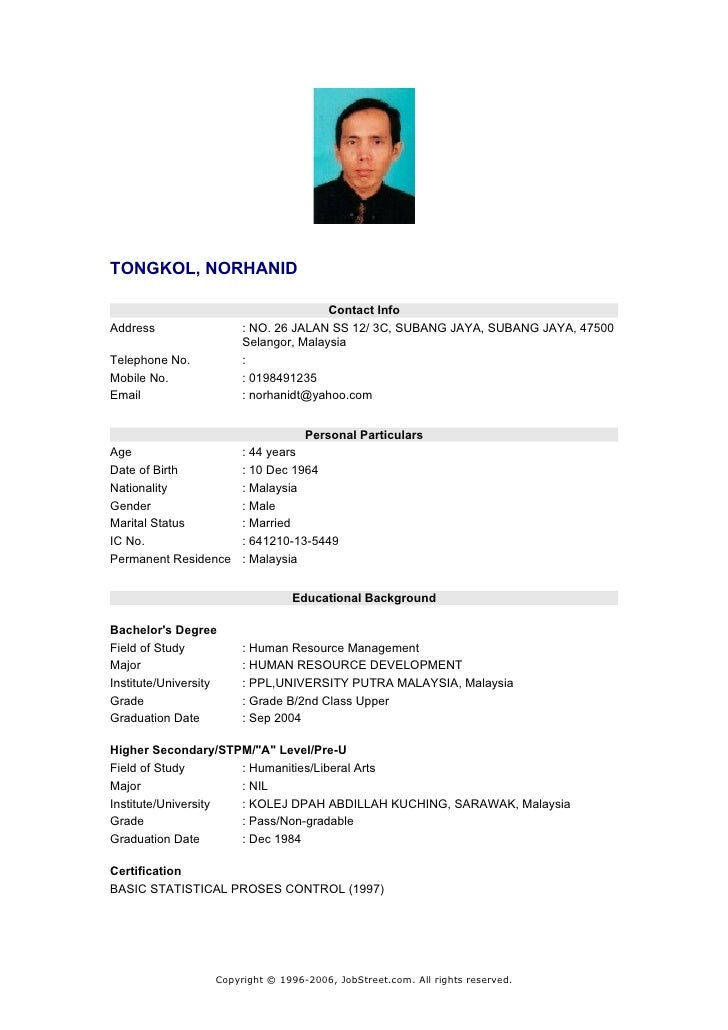My Resume. TONGKOL, NORHANID Contact InfoAddress ...  My Resume Com