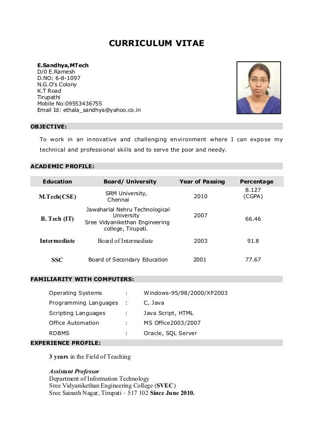my resume curriculum vitae objective to work in an innovative and challenging environment where i can expose