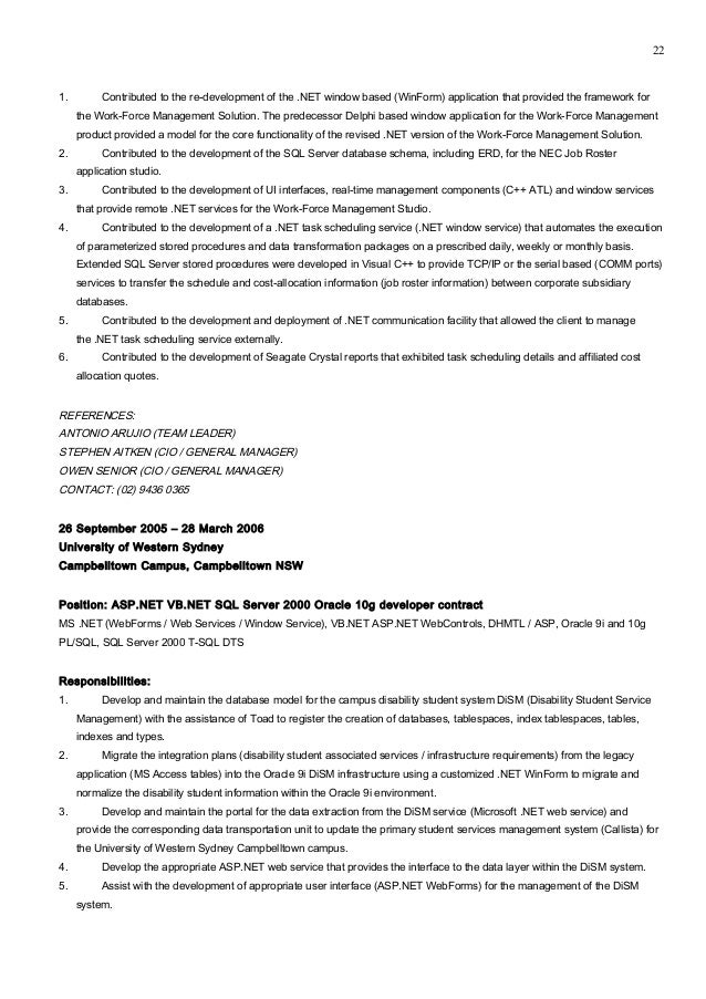 ms access developer resume