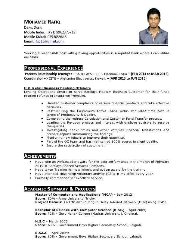 My resume banks