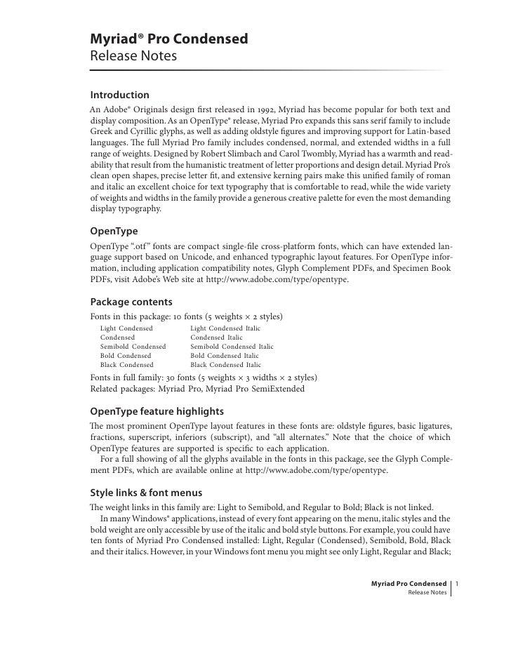 Myriad Pro Condensed Read Me