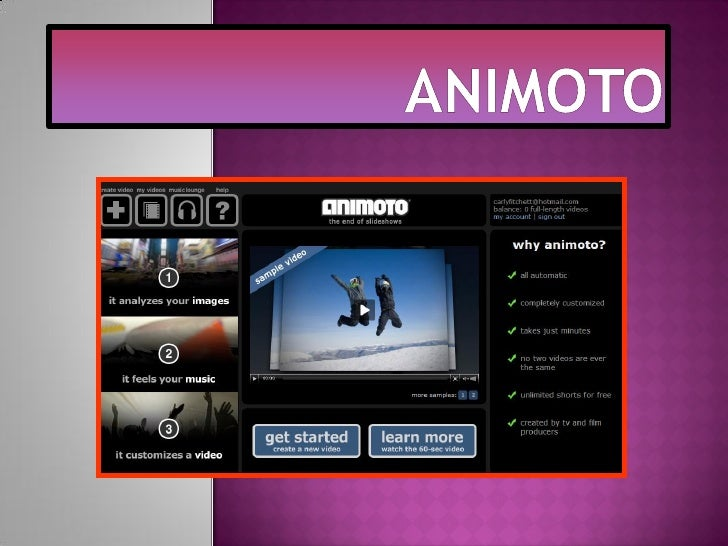 Animoto is a website designed to help peoplecreate videos out of pictures. The user is able to choose any desired images a...