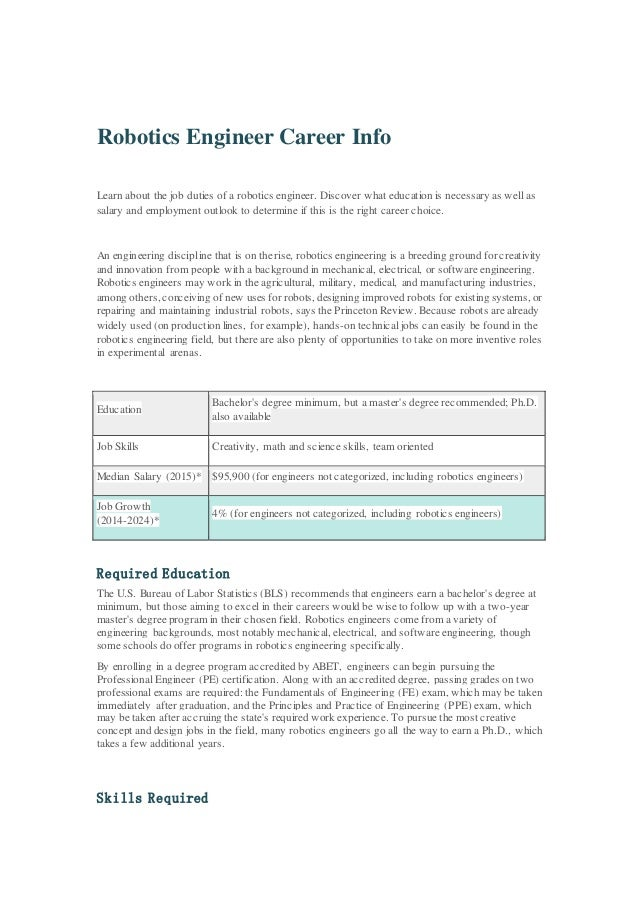 Robotics Engineer Career Info
