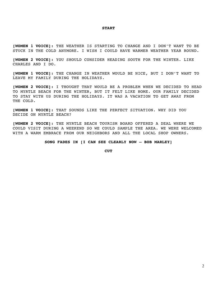 Myrtle beach radio script copy for Public service announcement template