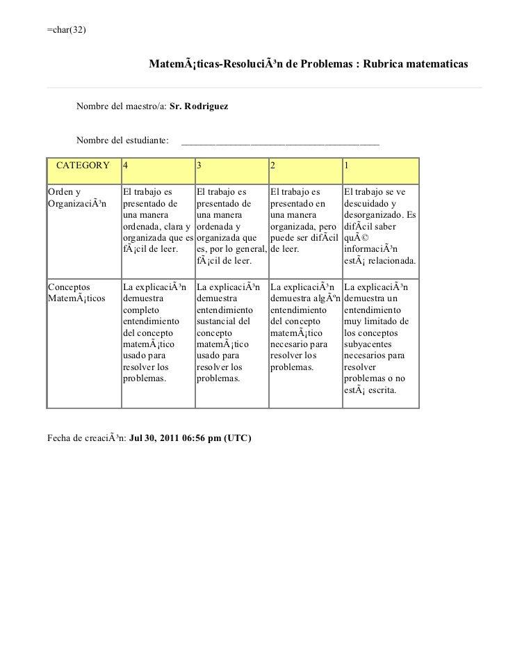 =char(32)                       Matemáticas-Resolución de Problemas : Rubrica matematicas      Nombre del maestro/a: Sr....