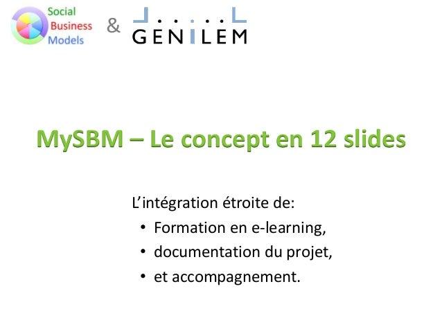 & MySBM – Le concept en 12 slides L'intégration étroite de: • Formation en e-learning, • documentation du projet, • et acc...