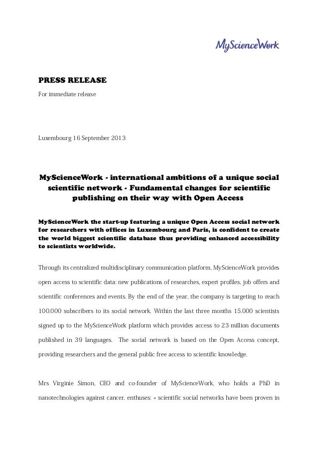 PRESS RELEASE For immediate release Luxembourg 16 September 2013 MyScienceWork - international ambitions of a unique socia...