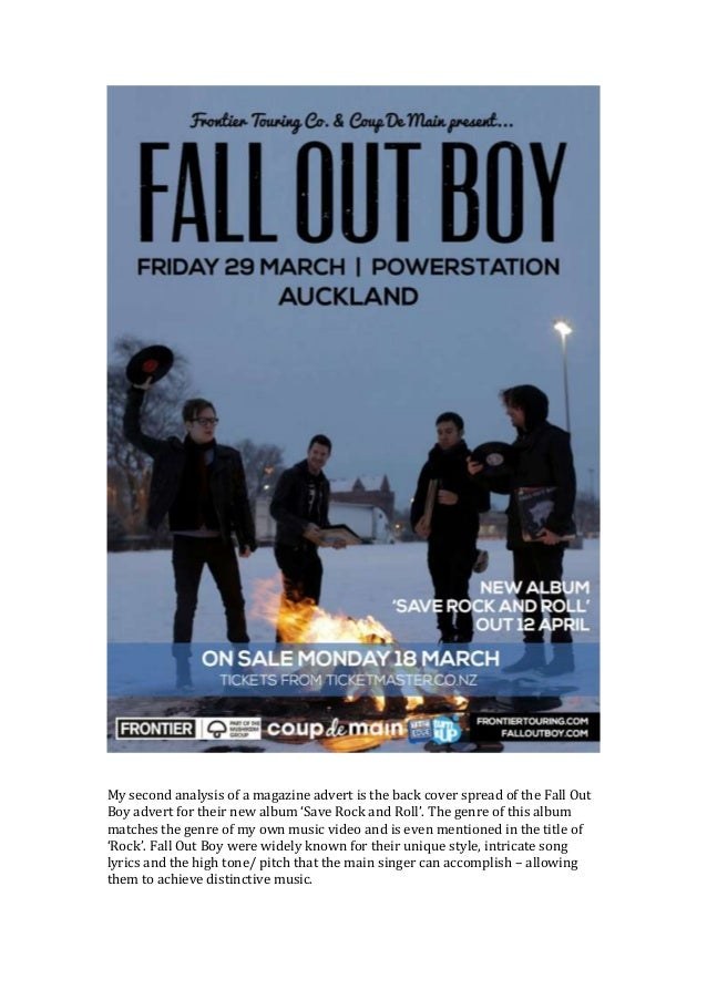 Second Magazine Advert Analysis Fall Out Boy