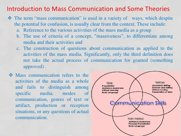"""Introduction to Mass Communication and Some Theories <br /><ul><li>The term """"mass communication"""" is used in a variety of  ..."""