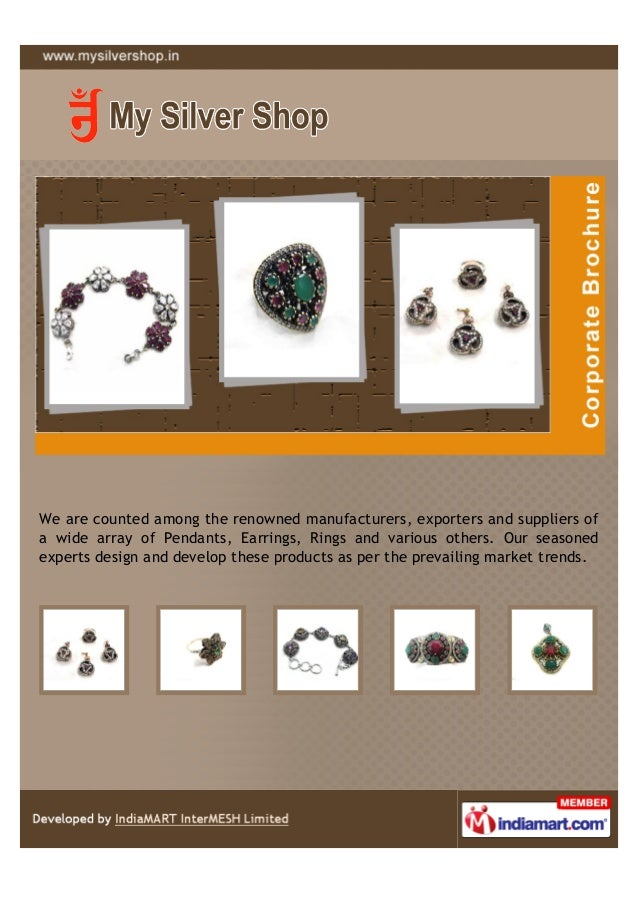 We are counted among the renowned manufacturers, exporters and suppliers ofa wide array of Pendants, Earrings, Rings and v...