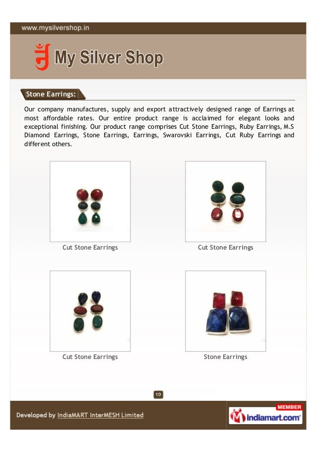 Stone Earrings:Our company manufactures, supply and export attractively designed range of Earrings atmost affordable rates...