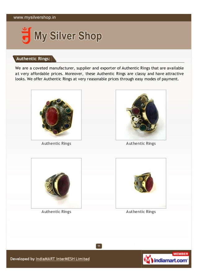 Authentic Rings:We are a coveted manufacturer, supplier and exporter of Authentic Rings that are availableat very affordab...