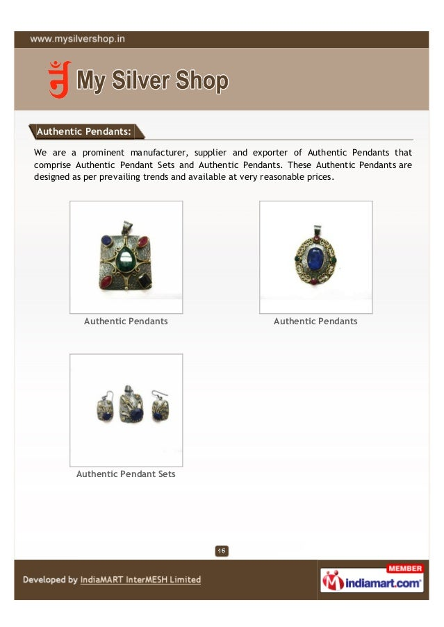 Authentic Pendants:We are a prominent manufacturer, supplier and exporter of Authentic Pendants thatcomprise Authentic Pen...