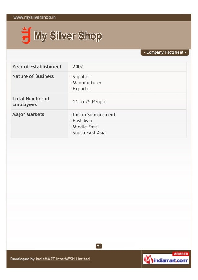 - Company Factsheet -Year of Establishment   2002Nature of Business      Supplier                        Manufacturer     ...