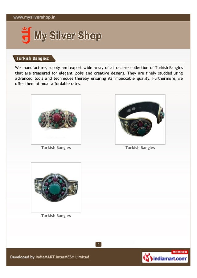 Turkish Bangles:We manufacture, supply and export wide array of attractive collection of Turkish Banglesthat are treasured...