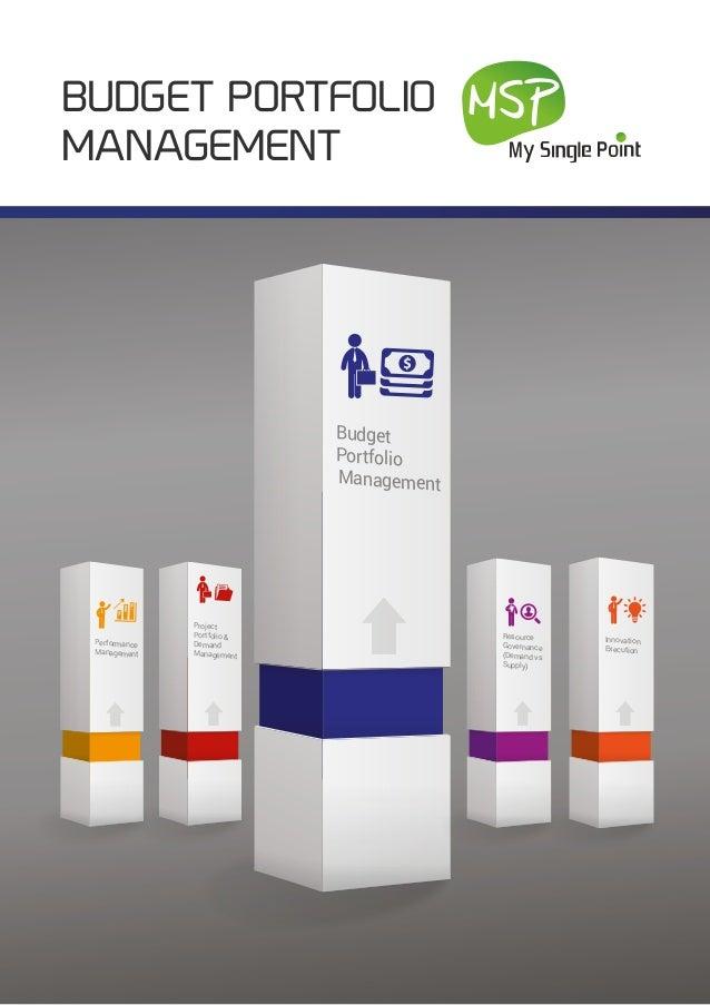 BUDGET PORTFOLIO MANAGEMENT Innovation Execution Performance Management Budget Portfolio Management Project Portfolio & De...