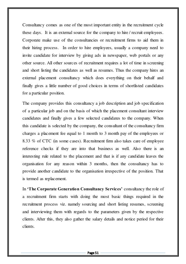 project report on study of bpo hr consultancy