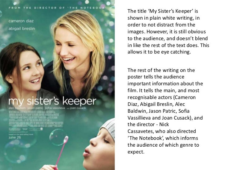 my sisters keeper 3 essay My sister's keeper has 951418 ratings and 31825 reviews  just like someone  should have stopped george lucas before episodes 1-3  after reading the  summary of the novel, i knew that i would never make the choices that the  parents.
