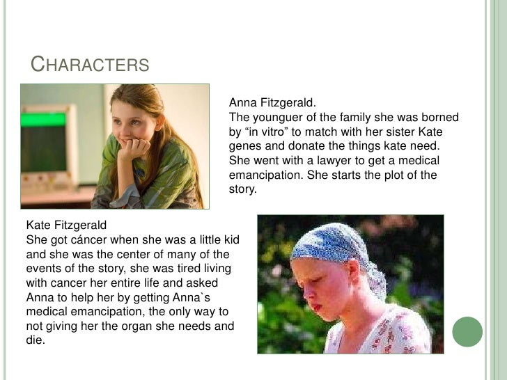"""Characters<br />Anna Fitzgerald.<br />Theyounguer of thefamilyshewasbornedby """"in vitro"""" to match withhersister Kate genes ..."""