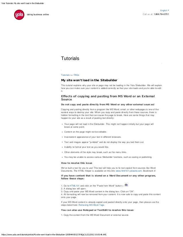Yola Tutorials: My site won't load in the Sitebuilder https://www.yola.com/tutorials/article/My-site-won-t-load-in-the-Sit...
