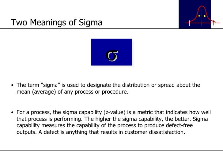 """<ul><li>The term """"sigma"""" is used to designate the distribution or spread about the mean (average) of any process or proced..."""