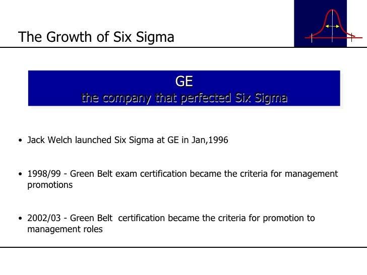 <ul><li>Jack Welch launched Six Sigma at GE in Jan,1996 </li></ul><ul><li>1998/99 - Green Belt exam certification became t...