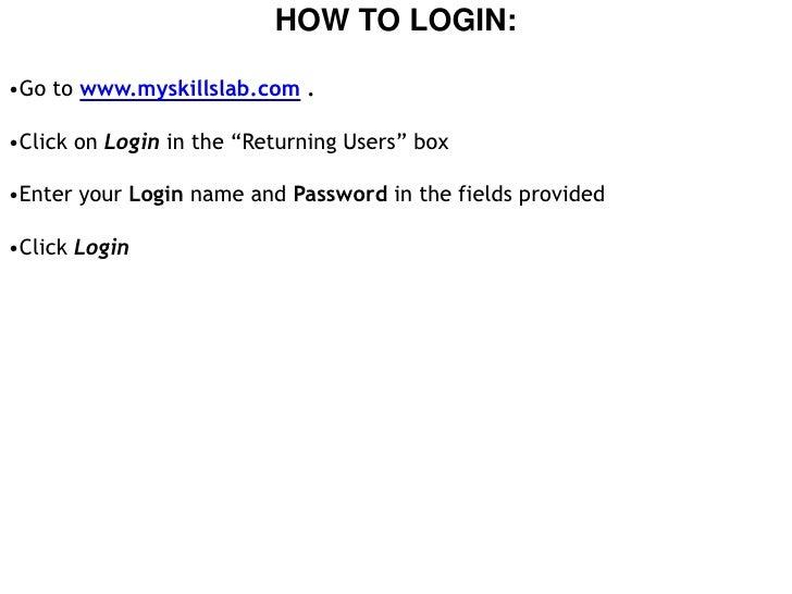 My skills lab login