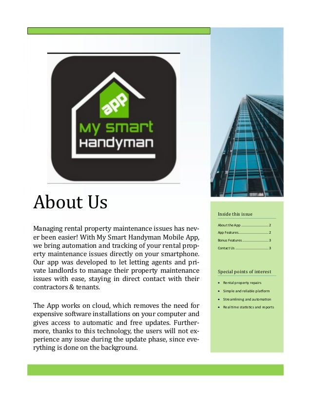 My Smart Handyman (Mobile App) - News Letter