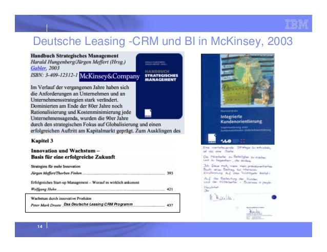 Deutsche Leasing -CRM und BI in McKinsey, 2003  Das Deutsche Leasing CRM Programm  14