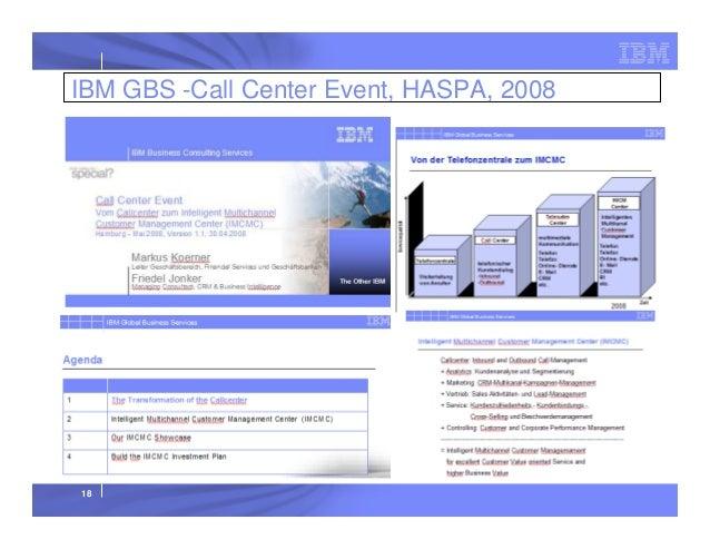 IBM GBS -Call Center Event, HASPA, 2008  18