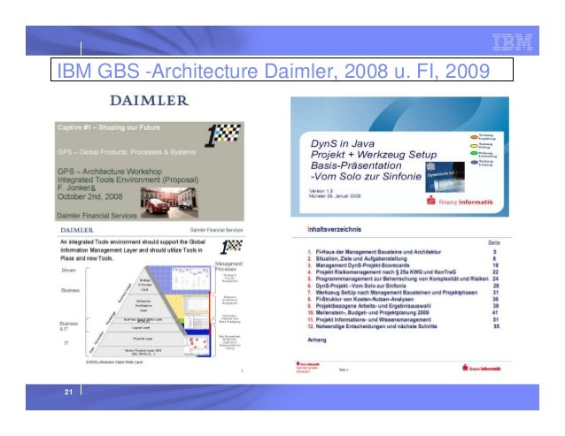 IBM GBS -Architecture Daimler, 2008 u. FI, 2009  21